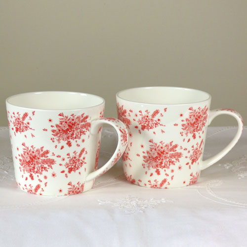 Teeservice Blumensträuße rot, Brilliantporzellan