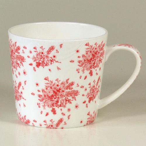 Tasse Blumensträuße rot, Brilliantporzellan