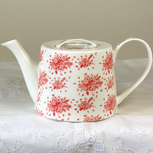 Teekanne Blumensträuße rot, rund, Brillianporzellan
