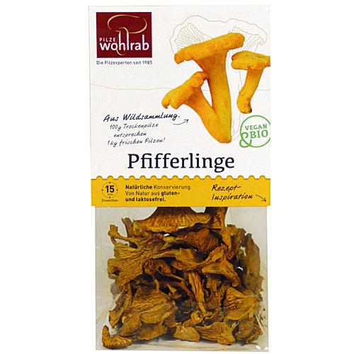 Pfifferlinge, Pilze getrocknet, Bio