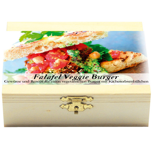 Falafel Veggie BurgerGeschenkholzkästchen